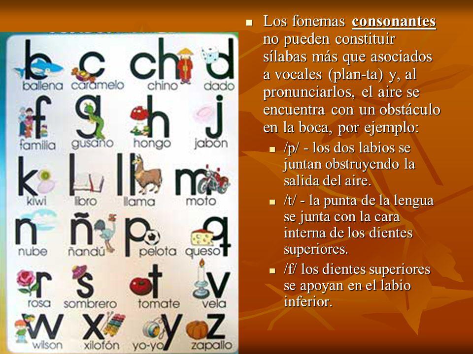 Los fonemas consonantes no pueden constituir sílabas más que asociados a vocales (plan-ta) y, al pronunciarlos, el aire se encuentra con un obstáculo en la boca, por ejemplo: