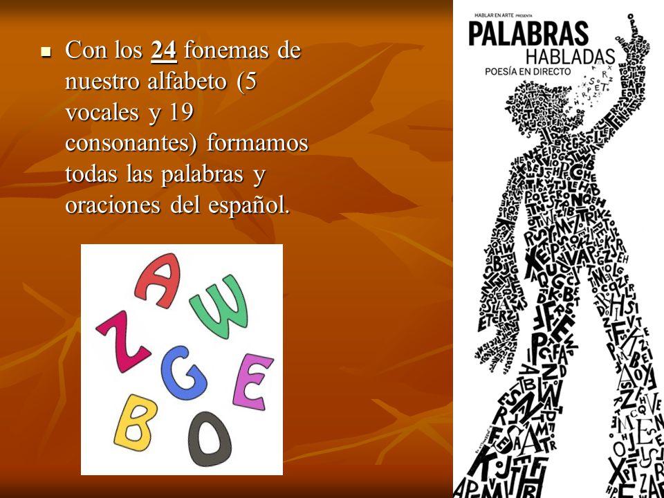 Con los 24 fonemas de nuestro alfabeto (5 vocales y 19 consonantes) formamos todas las palabras y oraciones del español.