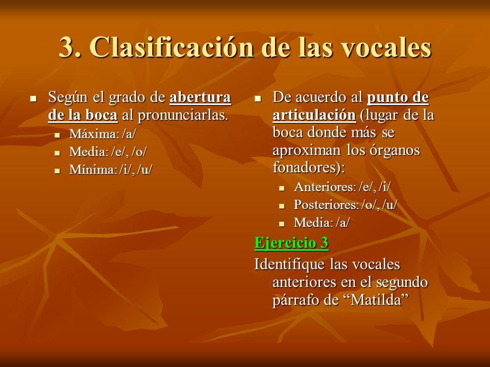 3. Clasificación de las vocales