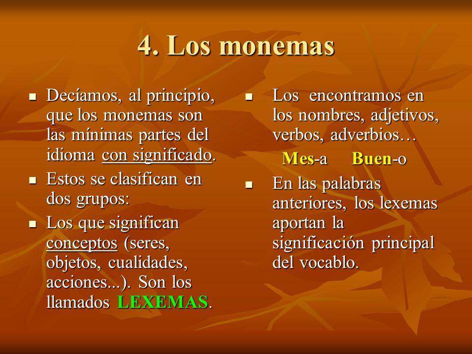 4. Los monemas Decíamos, al principio, que los monemas son las mínimas partes del idioma con significado.