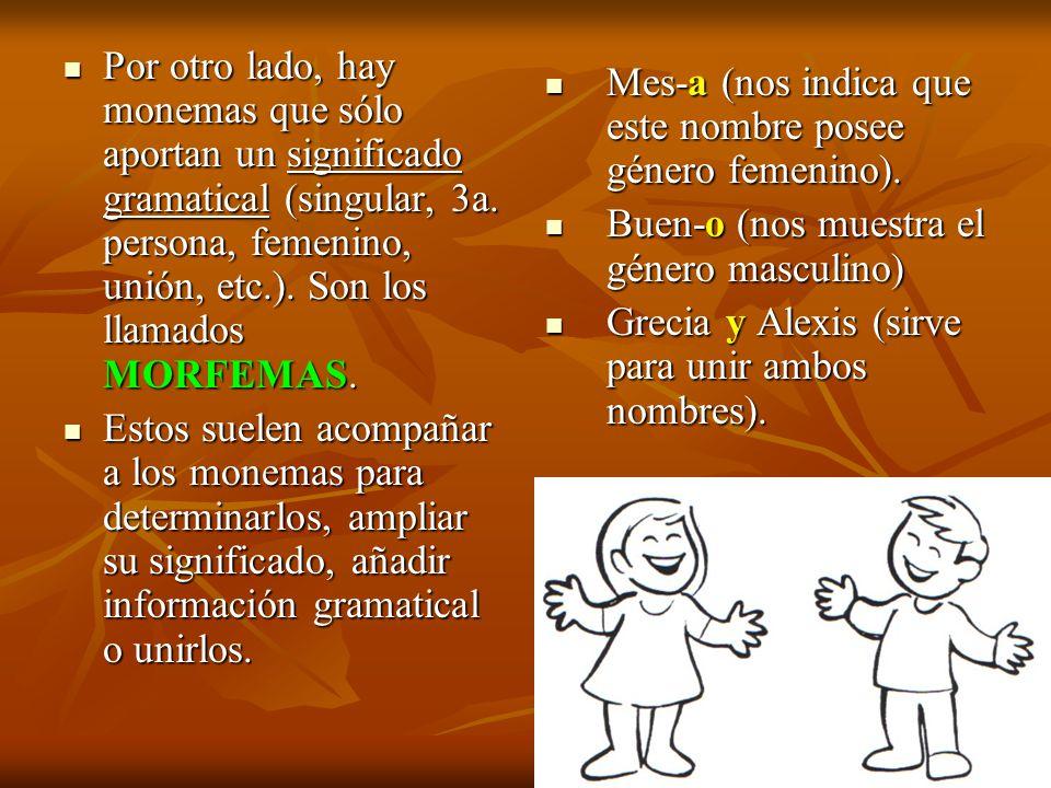 Por otro lado, hay monemas que sólo aportan un significado gramatical (singular, 3a. persona, femenino, unión, etc.). Son los llamados MORFEMAS.