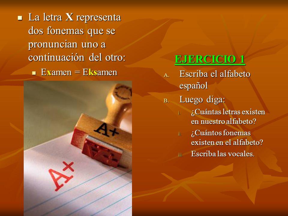 La letra X representa dos fonemas que se pronuncian uno a continuación del otro: