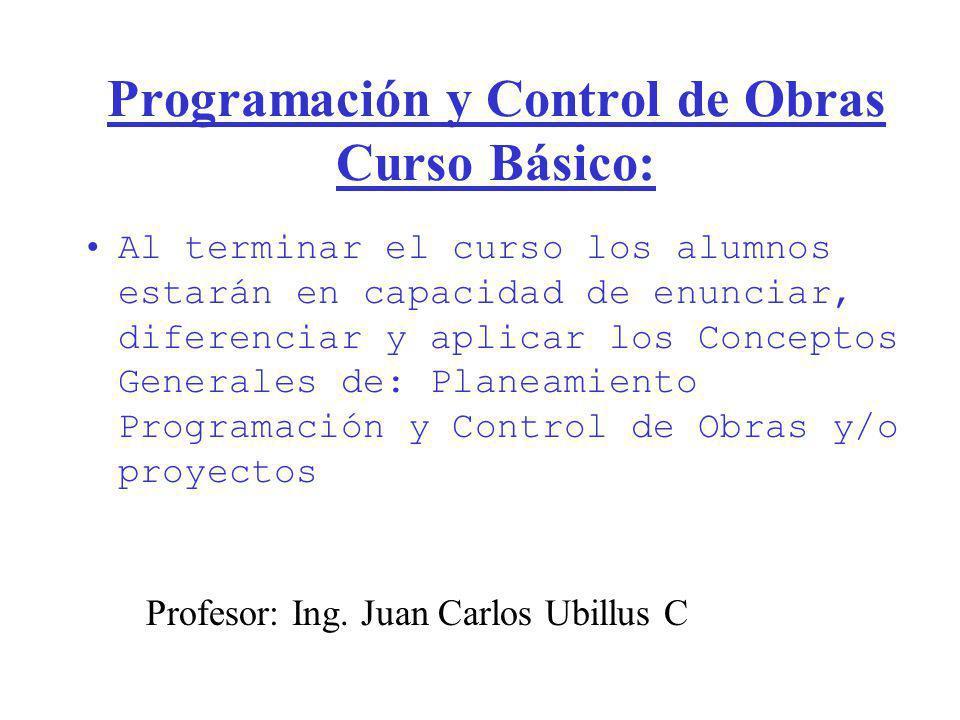 Programación y Control de Obras Curso Básico: