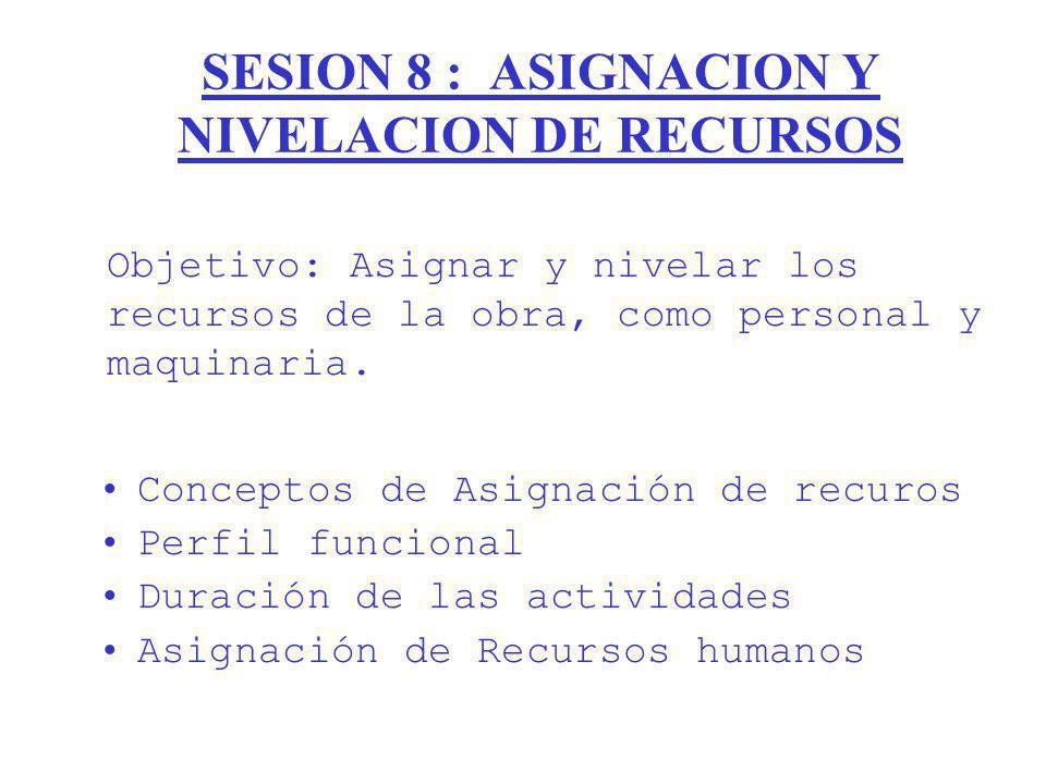 SESION 8 : ASIGNACION Y NIVELACION DE RECURSOS