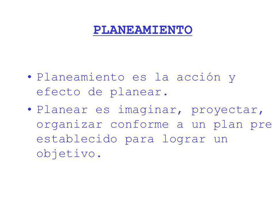 PLANEAMIENTO Planeamiento es la acción y efecto de planear.