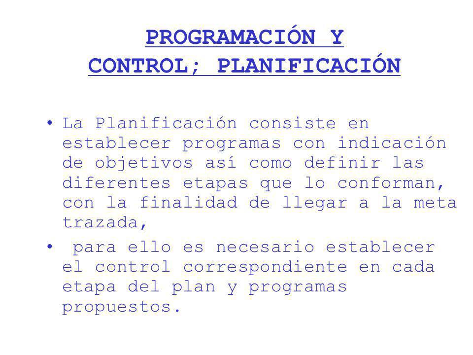 PROGRAMACIÓN Y CONTROL; PLANIFICACIÓN
