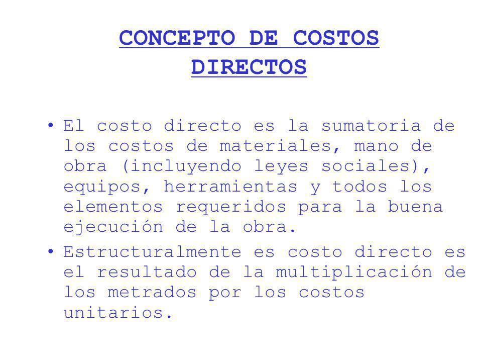 CONCEPTO DE COSTOS DIRECTOS