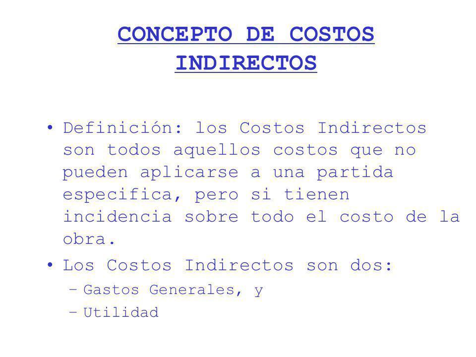 CONCEPTO DE COSTOS INDIRECTOS