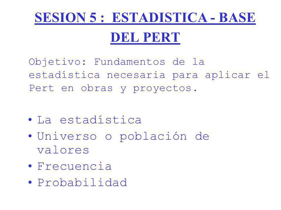 SESION 5 : ESTADISTICA - BASE DEL PERT