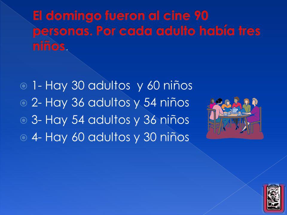 El domingo fueron al cine 90 personas. Por cada adulto había tres niños.