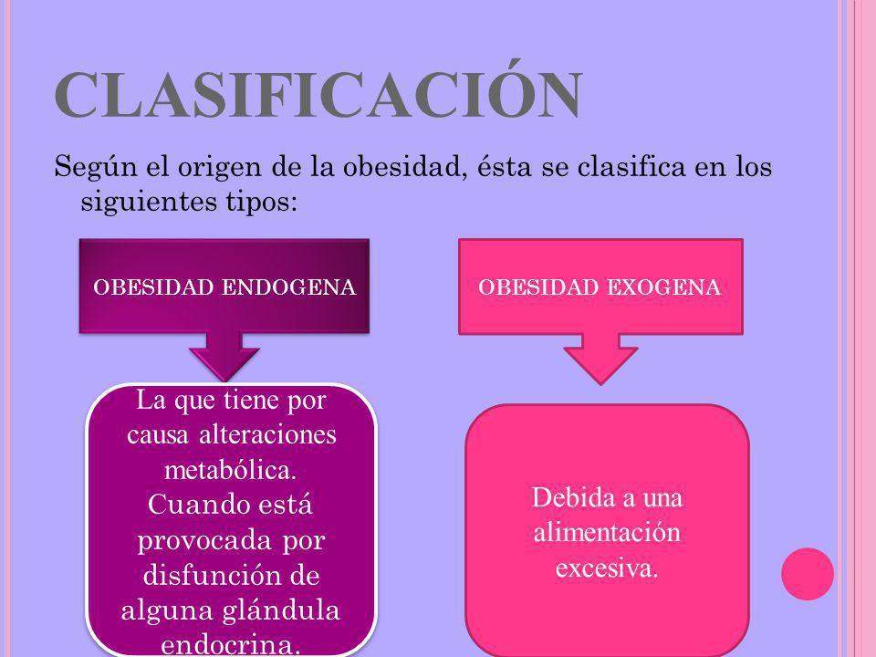 CLASIFICACIÓN Según el origen de la obesidad, ésta se clasifica en los siguientes tipos: OBESIDAD ENDOGENA.