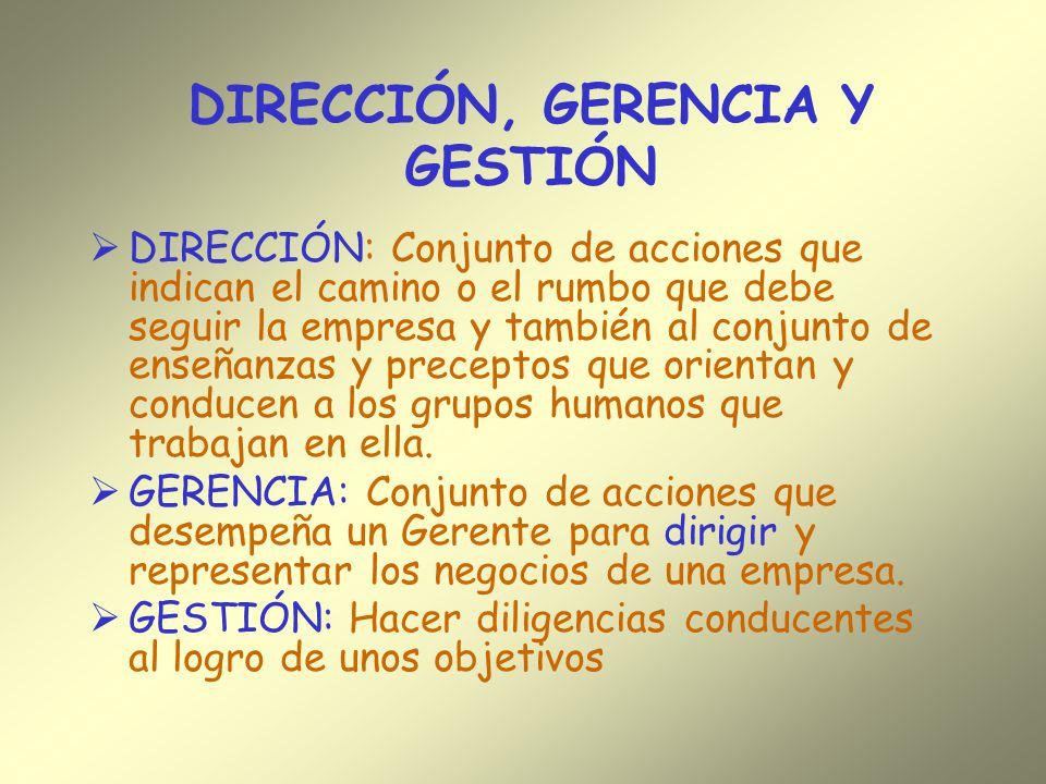 DIRECCIÓN, GERENCIA Y GESTIÓN