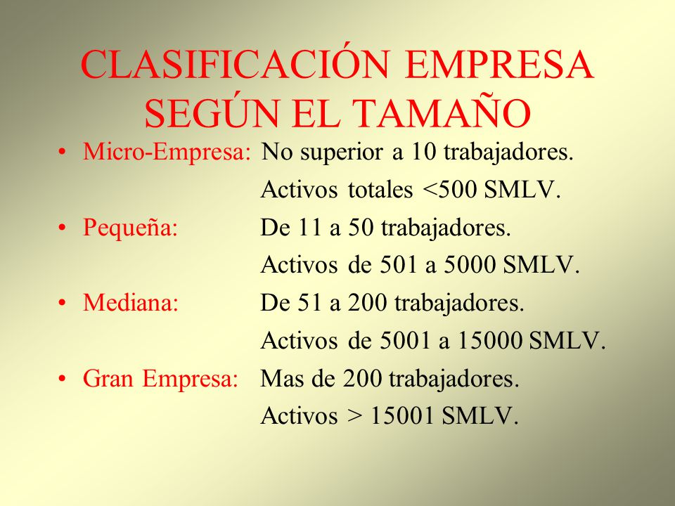 CLASIFICACIÓN EMPRESA SEGÚN EL TAMAÑO