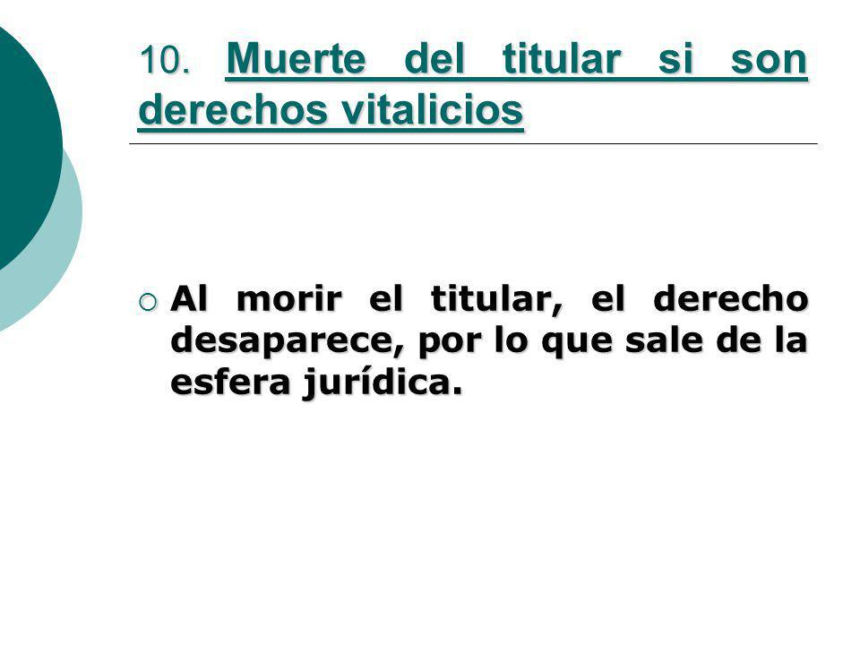 10. Muerte del titular si son derechos vitalicios