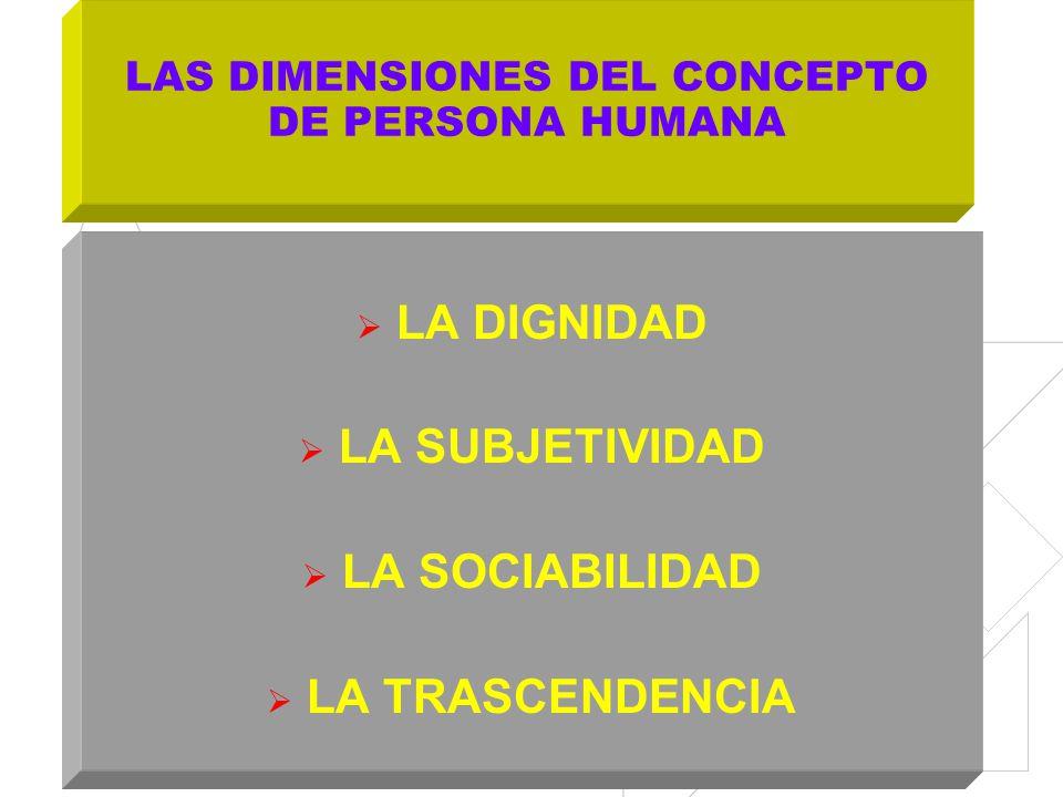 LAS DIMENSIONES DEL CONCEPTO DE PERSONA HUMANA