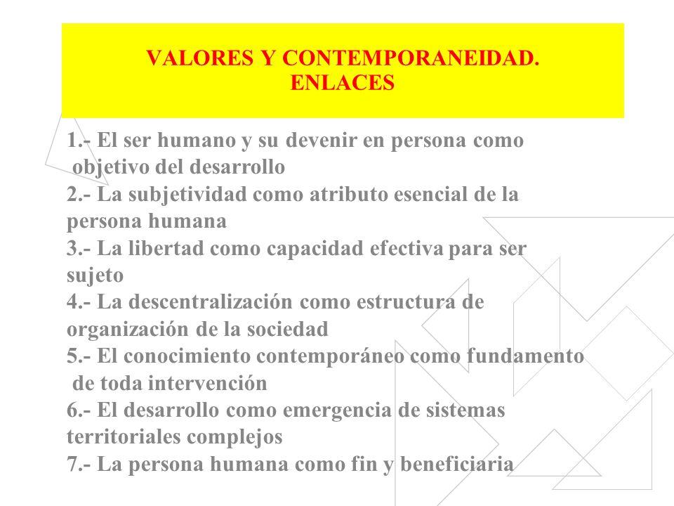 VALORES Y CONTEMPORANEIDAD. ENLACES