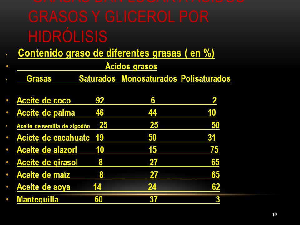 Grasas dan lugar a ácidos grasos y glicerol por hidrólisis