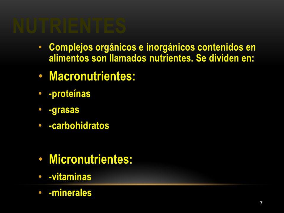 Nutrientes Macronutrientes: Micronutrientes:
