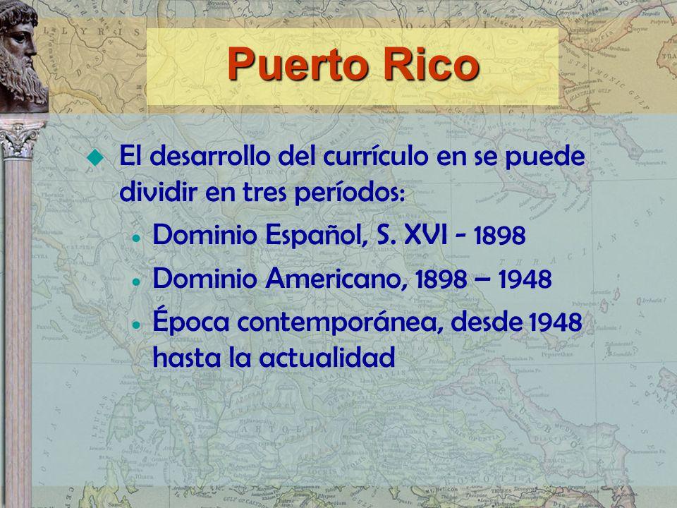 El desarrollo del currículo en se puede dividir en tres períodos: