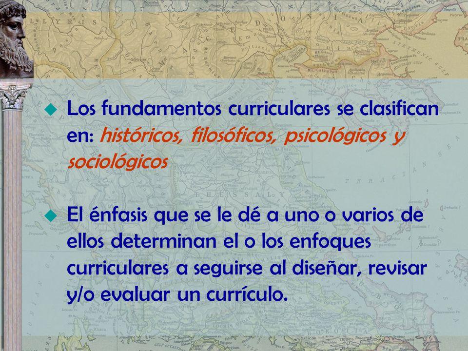 Los fundamentos curriculares se clasifican en: históricos, filosóficos, psicológicos y sociológicos