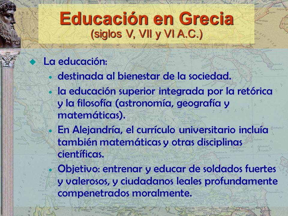 Educación en Grecia (siglos V, VII y VI A.C.)