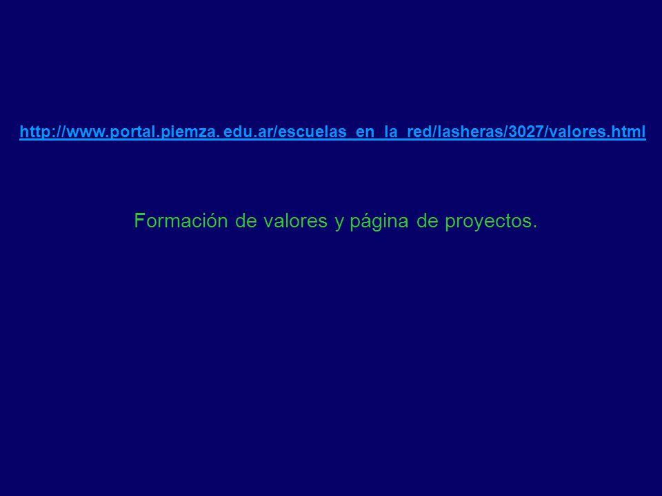 Formación de valores y página de proyectos.