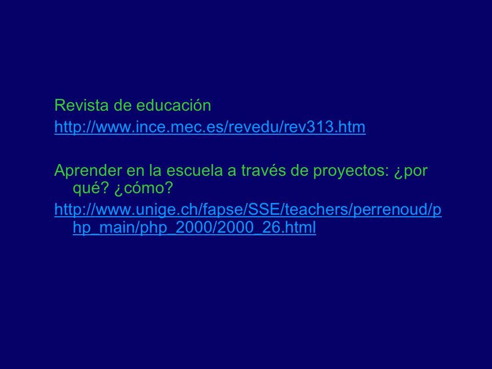 Revista de educación http://www.ince.mec.es/revedu/rev313.htm. Aprender en la escuela a través de proyectos: ¿por qué ¿cómo
