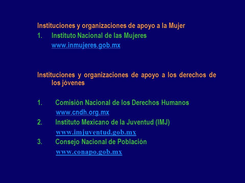 Instituciones y organizaciones de apoyo a la Mujer