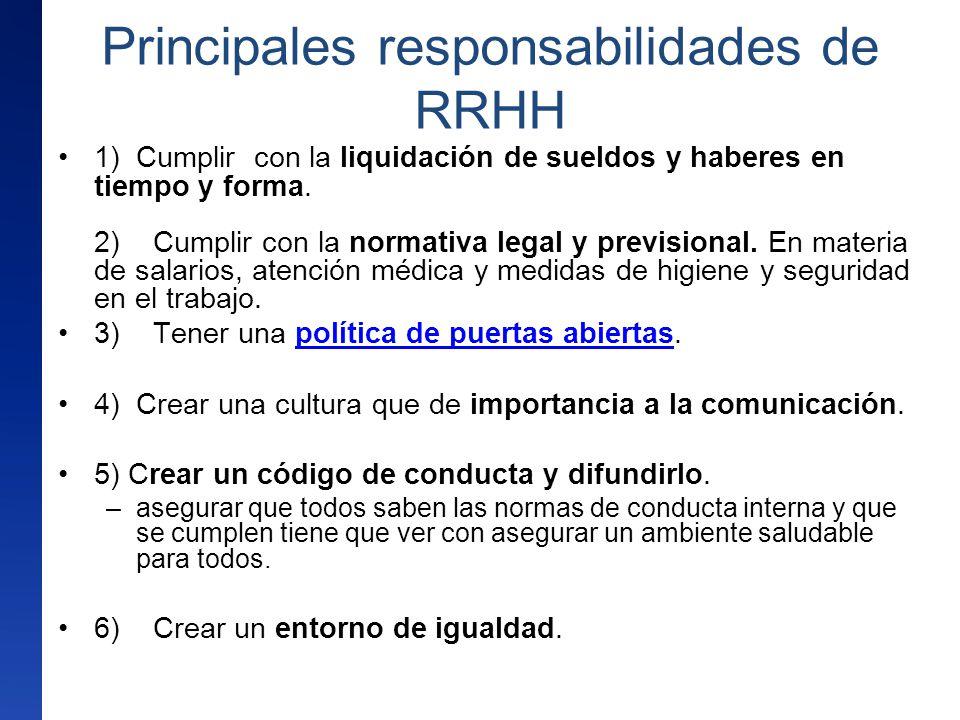 Principales responsabilidades de RRHH