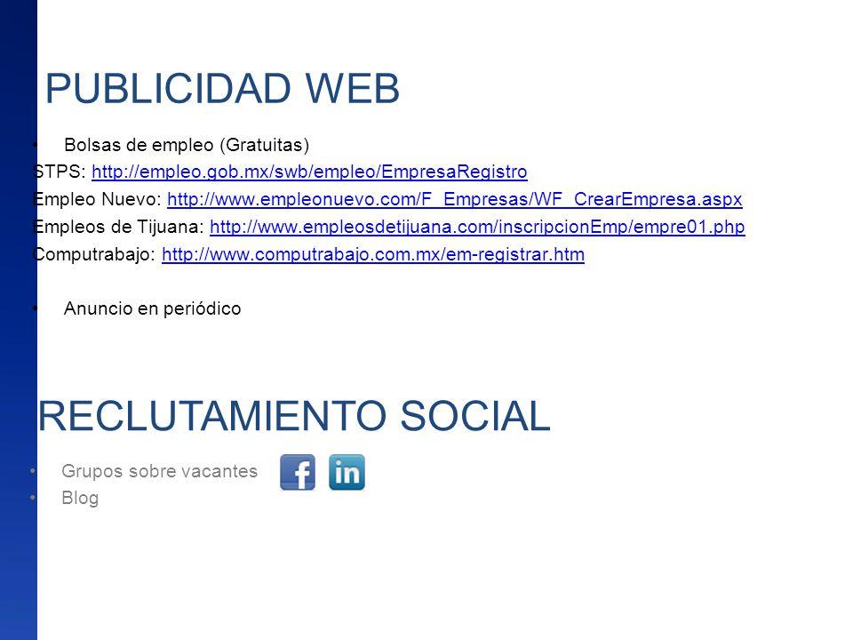 PUBLICIDAD WEB RECLUTAMIENTO SOCIAL Bolsas de empleo (Gratuitas)
