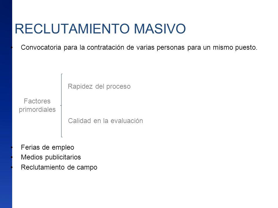 RECLUTAMIENTO MASIVO Convocatoria para la contratación de varias personas para un mismo puesto. Ferias de empleo.