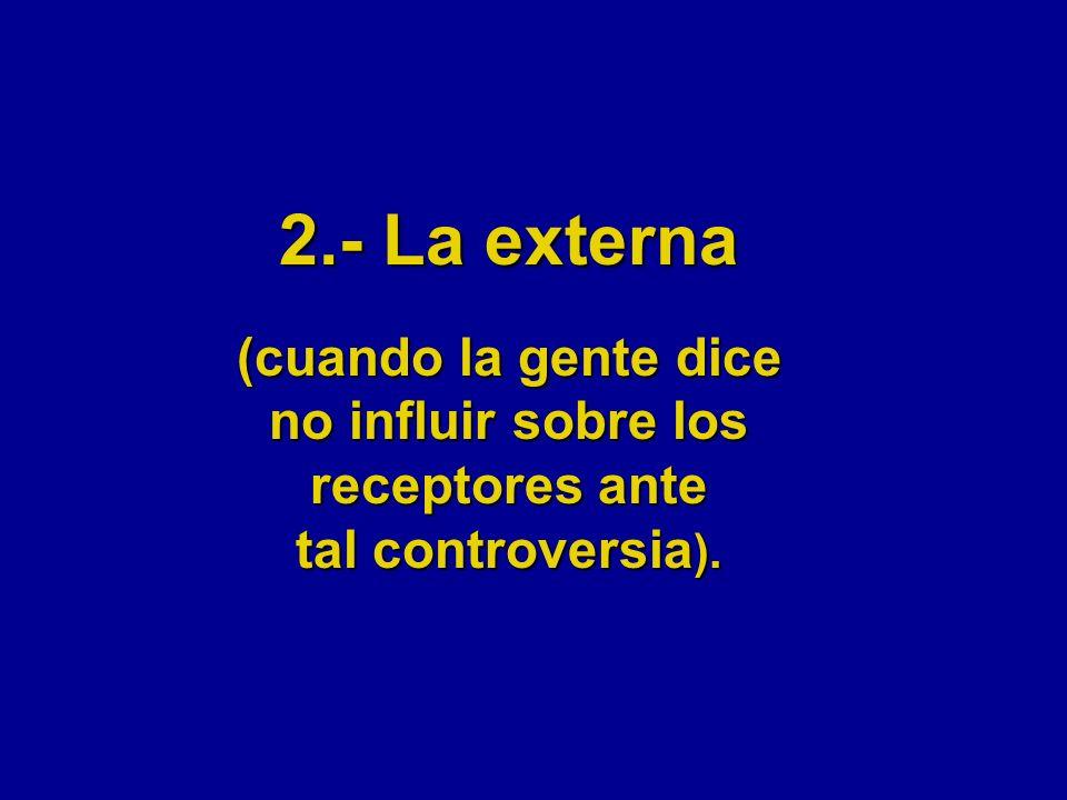 2.- La externa (cuando la gente dice no influir sobre los