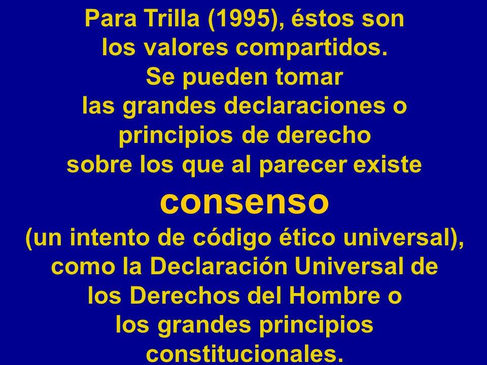 Para Trilla (1995), éstos son los valores compartidos. Se pueden tomar