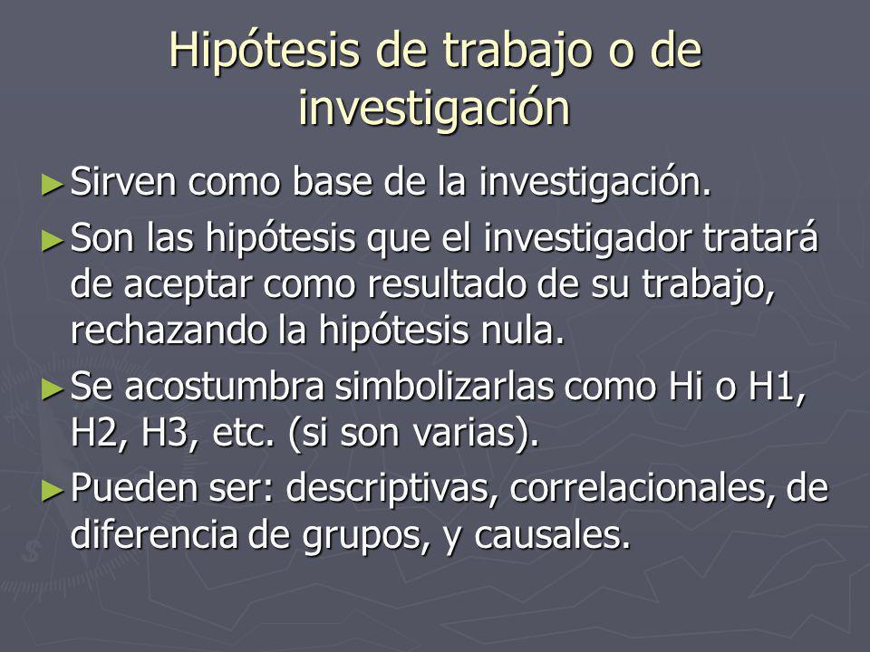 Hipótesis de trabajo o de investigación