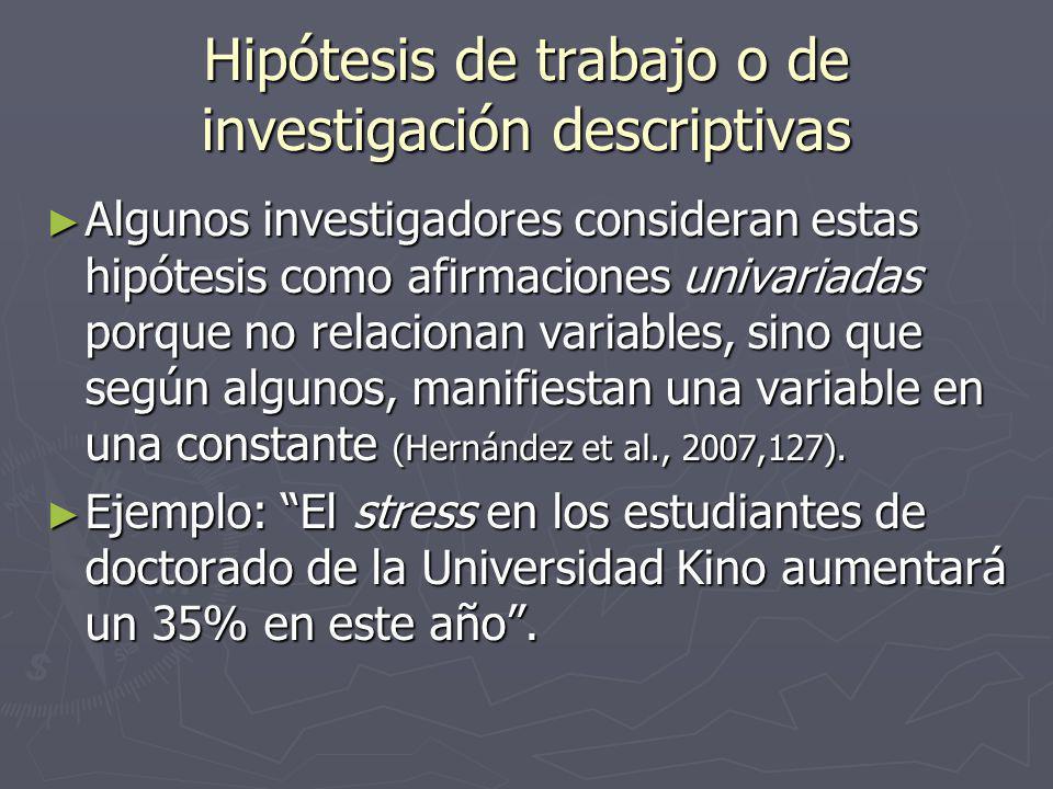 Hipótesis de trabajo o de investigación descriptivas