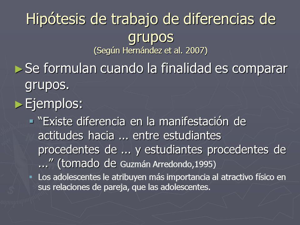 Hipótesis de trabajo de diferencias de grupos (Según Hernández et al