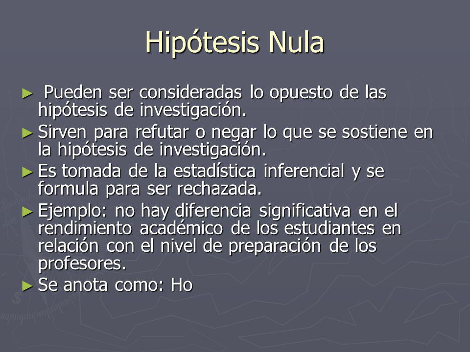 Hipótesis Nula Pueden ser consideradas lo opuesto de las hipótesis de investigación.