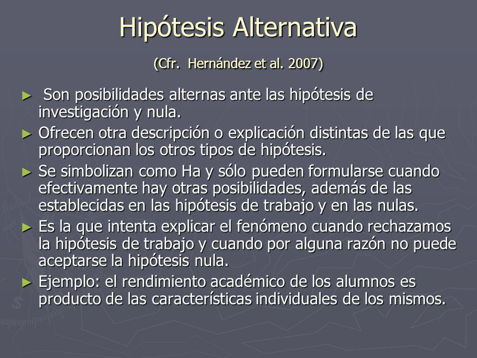 Hipótesis Alternativa (Cfr. Hernández et al. 2007)