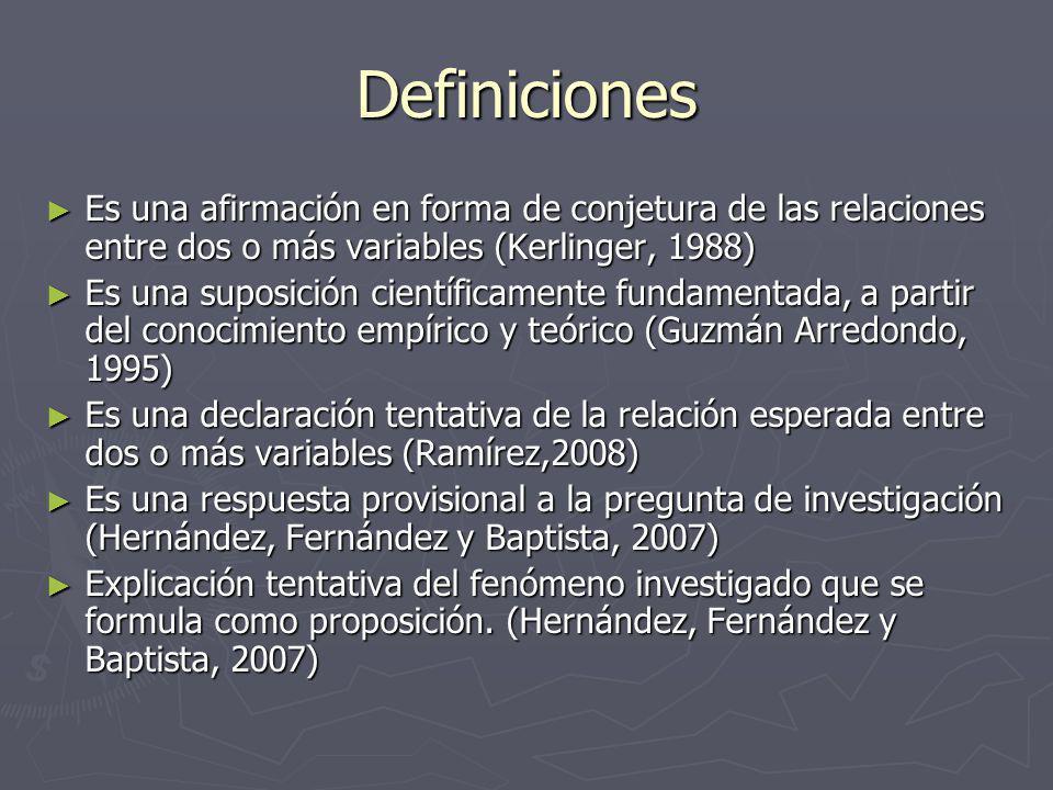 Definiciones Es una afirmación en forma de conjetura de las relaciones entre dos o más variables (Kerlinger, 1988)