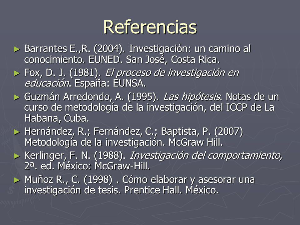 Referencias Barrantes E.,R. (2004). Investigación: un camino al conocimiento. EUNED. San José, Costa Rica.