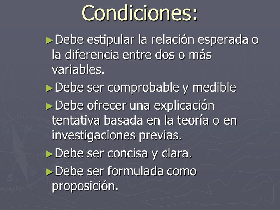 Condiciones: Debe estipular la relación esperada o la diferencia entre dos o más variables. Debe ser comprobable y medible.