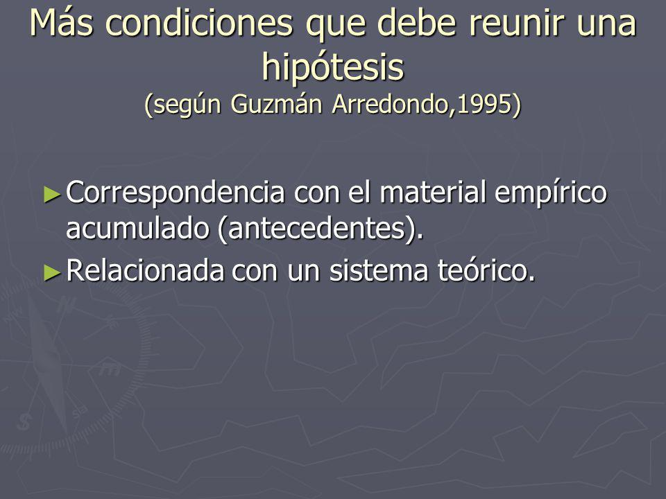 Más condiciones que debe reunir una hipótesis (según Guzmán Arredondo,1995)