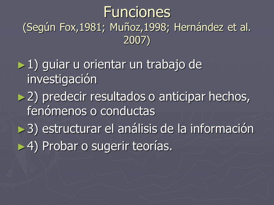 Funciones (Según Fox,1981; Muñoz,1998; Hernández et al. 2007)