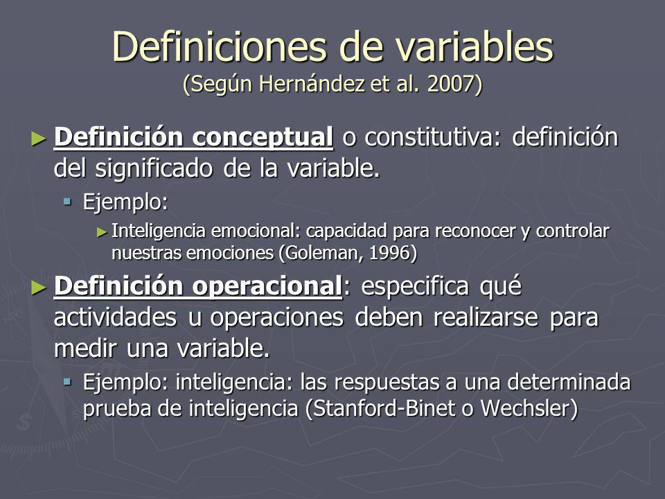 Definiciones de variables (Según Hernández et al. 2007)