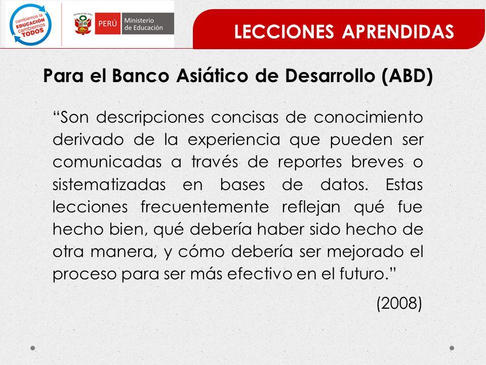 Para el Banco Asiático de Desarrollo (ABD)
