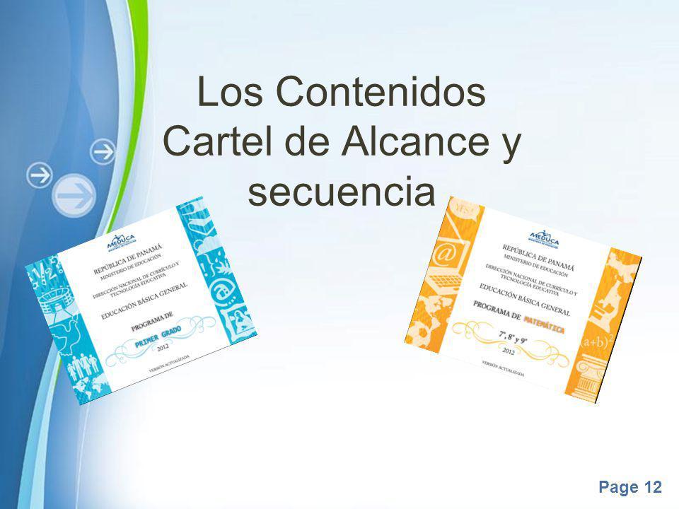 Los Contenidos Cartel de Alcance y secuencia