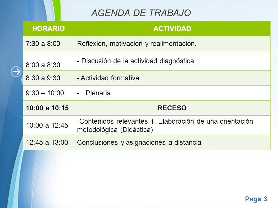 AGENDA DE TRABAJO HORARIO ACTIVIDAD 7:30 a 8:00