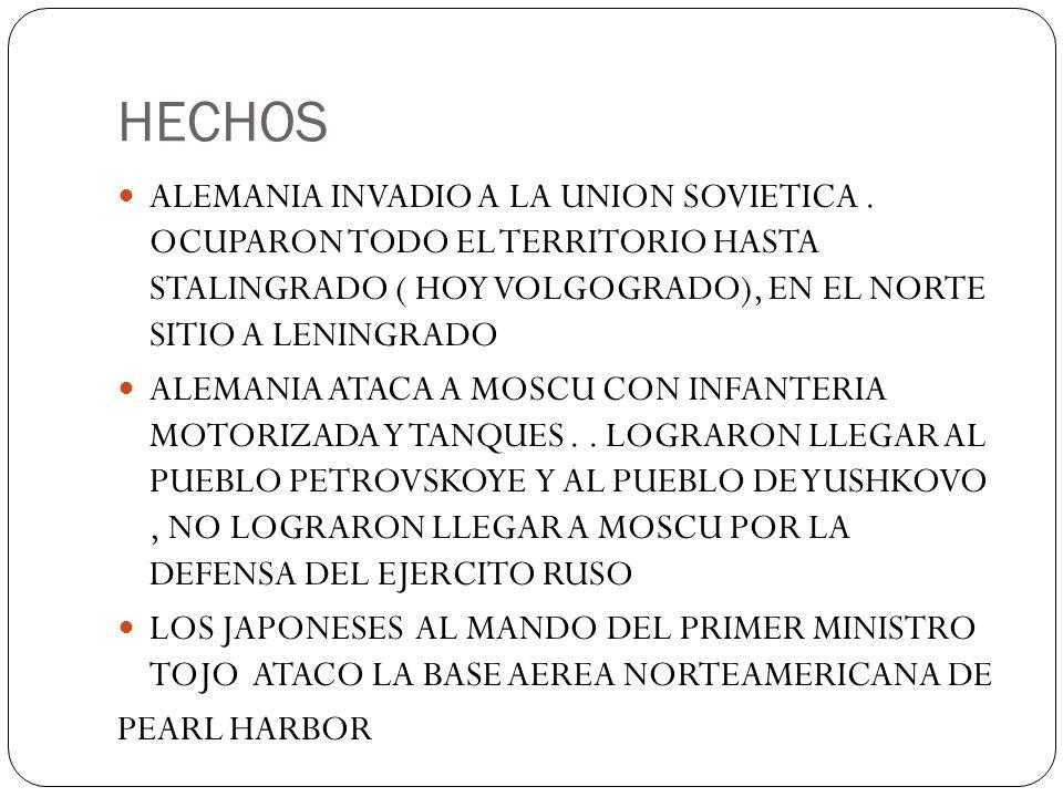 HECHOS ALEMANIA INVADIO A LA UNION SOVIETICA . OCUPARON TODO EL TERRITORIO HASTA STALINGRADO ( HOY VOLGOGRADO), EN EL NORTE SITIO A LENINGRADO.