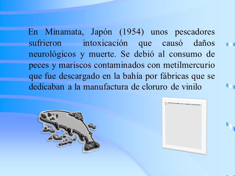 En Minamata, Japón (1954) unos pescadores sufrieron intoxicación que causó daños neurológicos y muerte.