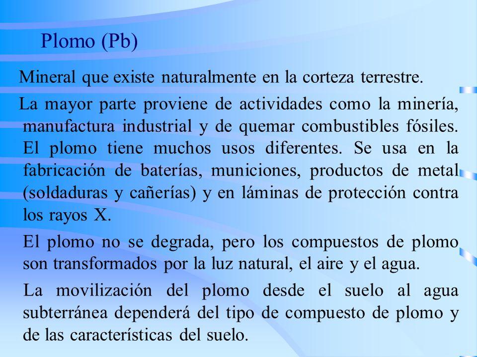 Plomo (Pb) Mineral que existe naturalmente en la corteza terrestre.